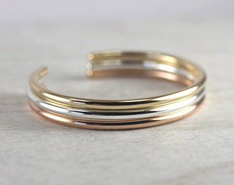 3 Wide Smooth Cuff Bracelets in Mixed Metals, Simple Cuff Bracelets, Custom Sized