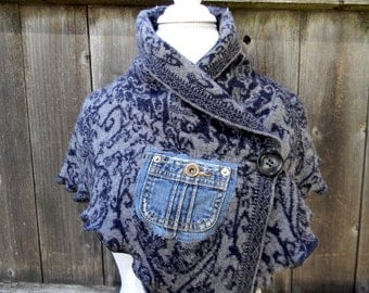 Upcycled Wool Women Scarf Neck Warmer Cowl neck Shawl Wrap Capelet  Poncho Blue & Gray Pattern With Denim