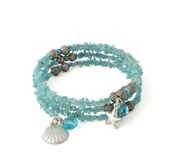 Beaded Wrap Bracelet Blue Topaz Bracelet Seashell Jewelry