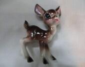 Big Eye Baby  Standing  Spotted Fawn Porcelain  Deer Figurine  Long Legs Japan