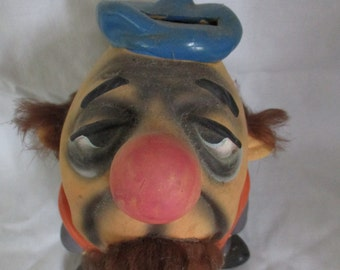 Ceramic  Bank Comic Man Big Head/Hairy Man  Vintage Ucagco Japan Figurine