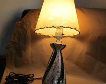 Ceramic Table Lamp~Fiberglass Shade Mid Century Mod Atomic  Lamp Original  Shade