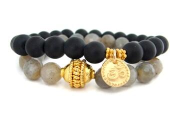 Om Bracelets |  Gold Charm Bracelet Stack | Harmony Intuition | Yoga Jewelry | Yoga bracelet | Om Charm Bracelet | Boho Bracelets |