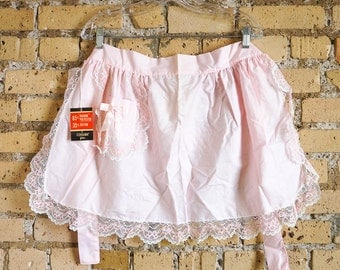 Vintage 1960s Hostess Apron / Half Apron NWT Pale Pink Cotton, Lace Trim / Retro Suzy Homemaker