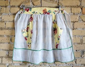 Vintage 1960s Hostess Apron Size S-M / Hostess Half Apron Yellow Cotton Floral Print