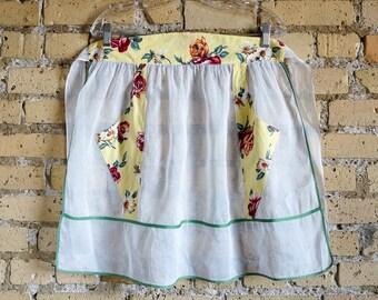 Vintage 1960s Hostess Apron / 60s Half Apron / Yellow Cotton Floral Print and White Organza