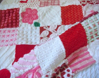 EOWYN'S ROSES ~ a Made-to-Order Vintage Cotton Chenille Patchwork Quilt