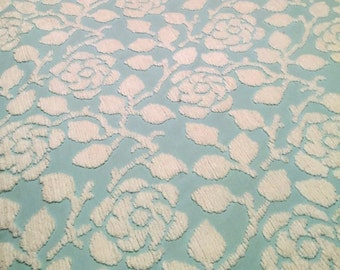Sculpted White Roses on Aqua Plush Vintage Chenille Fabric 12 X 24 Inches