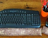 Ergonomic Keyboard Wrist Support and Mouse Rest Pillow - Dreamy Dragon Satin Brocade and Crushed Velvet, flax seed unscented or lavender
