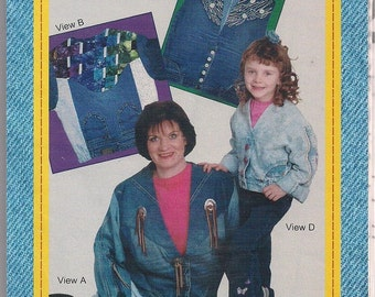 Junk Jeans Upside Down Jacket, Recycled Jeans, Repurposed Jeans, Demin Jacket, Adult Pattern, SM - 3X Childrens Pattern 2 - 12, JAC 606