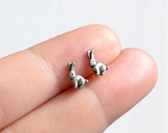Bunny rabbit earrings - handmade tiny enamel stud / post earrings kawaii hipster trendy miniature
