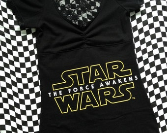Star Wars The Force Awakens Women's T-Shirt // Size Small // Sci-Fi Fantasy Film Movie Black Lace Geek Nerd