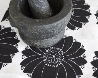 Dahlia Black on Off White Linen Tea Towel