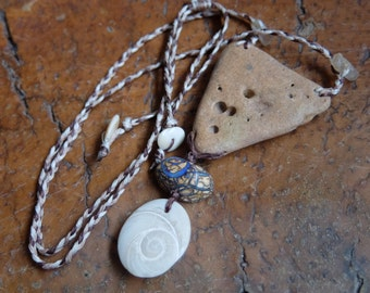Hag stone - wishing stone - Boulder Opal, Shiva eye, crystal necklace -  handmade in Australia by NaturesArtMelbourne - natural jewellery
