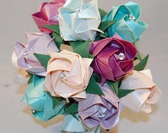 Wedding Flowers Bouquet Roses Valentines Origami Paper Bridal Unusual