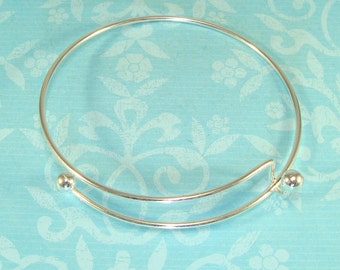 3 SILVER Bangle Bracelets Blanks Bracelet 7 1/2 inch Expandable Bulk Jewelry Making Supplies Add Charms Letters & Gems to Personalize