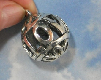 I LOVE YOU  Dangle Bead Antiqued Silver Tone 24mm Hollow Round (P1581)