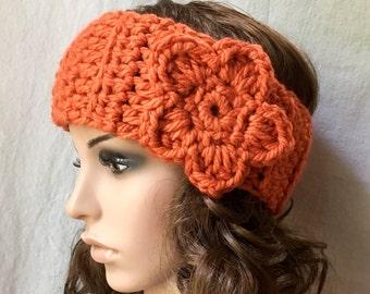 Pumpkin Orange Crochet Headband Ear Warmer Halloween Headband Fall Ski Headband, Flower, Choose Your Color, Birthday Gifts for her HBJE85F11