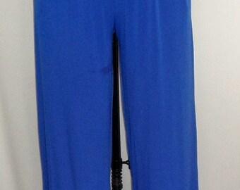 Coco and Juan, Plus Size, Pant Royal Blue Traveler Knit Full Leg Pant  Longer Lenght  31 inch Inseam Size 2 fits 3X,4X