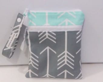 Mint  and  Gray Arrow Double Wet Bag, Wet Dry Bag with 2 zippered pockets, cloth diaper bag, swimsuit bag, kitchen wet bag