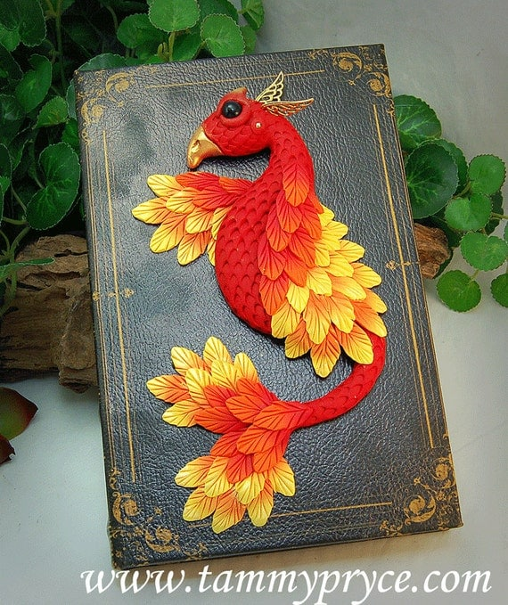 Red Clay Dragon: Ooak Polymer Clay Red Phoenix Dragon On Slender Old By