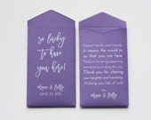 Custom Purple Lottery Ticket Wedding Favor Packet Envelopes - Many Colors Available