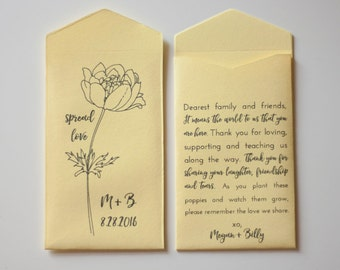 Spread Love Poppy Seed Packet Wedding Favors - Personalized Seed Envelope Favor - Yellow Wedding Favor - Many Colors Available