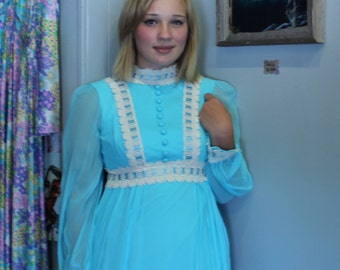 Romantic blue chiffon prom dress 1970s Gown