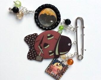 Pumpkin Man Halloween Brooch Pin Moon Cornfield 31 Mixed Media Jewelry Vintage Whimsical Jewelry OOAK
