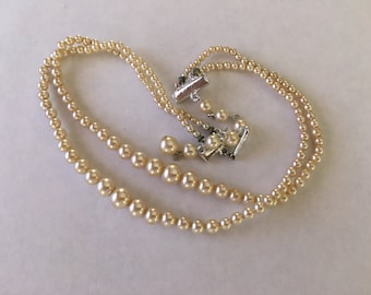 Vintage 2 Strand Japanese Graduated Pearl Necklace