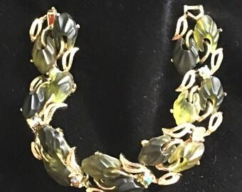 Vintage Green Molded Plastic & AB Rhinestone Link Bracelet