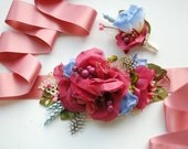Dark Pink Blue Green Bridal Flower Sash, Pink Blue Grooms Boutonniere, Pink Serenity Bridal Accessories, Maternity Belt Sash, Photo Prop
