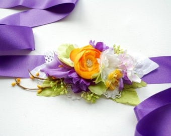 Lilac Green Orange Bridal Flower Sash, Bridal Lilac Hair Comb, Weddings Violet Purple Bridal Satin Sash, Maternity Flower Belt, Photo Prop