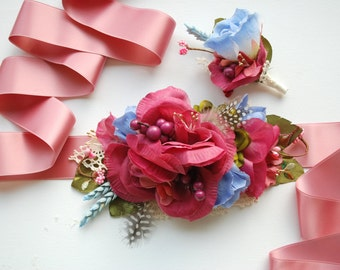 Dark Pink Blue Green Bridal Flower Sash, Pink Blue Grooms Boutonniere, Pink Serenity Bridal Accessories, Maternity Belt Sash, Photo Prop