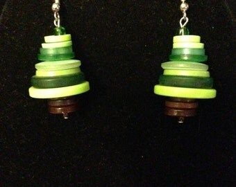 Earrings - Button Christmas Tree