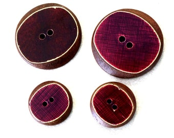 Vintage Buttons Wood Art Deco Rectangle Face Slant Curved Sides Polished Maroon Red Top Two Large Two Smaller