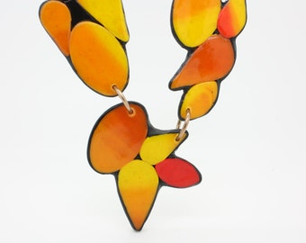 Handmade polymer clay long necklace in warm tones, one of a kind modern