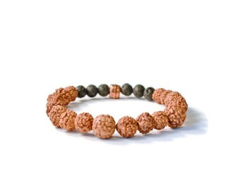 Aromatherapy Essential Oils Diffuser Bracelet, Lava Stones and Czech Glass