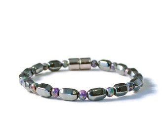 Black/Purple Magnetic Bracelet, Hematite Jewelry, Pain Relief
