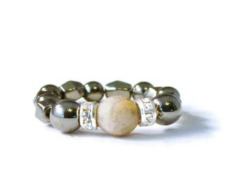 Frosted Agate Magnetic Bead Ring