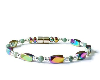 Rainbow Magnetic Hematite Bracelet with Ching Hai Jade, Arthritis  Pain Relief Jewelry