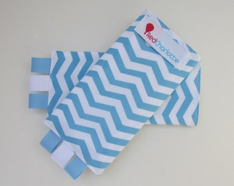 ORGANIC Sucking Pads - Blue/White Chevron -these fit Ergo, Tula, Mei Tai, Beco, Boba, BabyHawk and more
