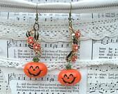 jack o lantern earrings assemblage pumpkin halloween floral fall