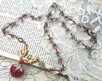 necklace strawberry assemblage fruit upcycled vintage jewelry rhinestone red berry cottage chic