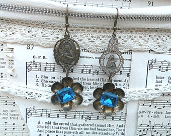earrings mismatch religious assemblage medals blue rhinestone floral