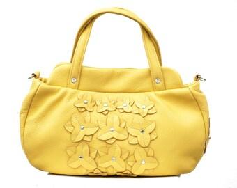 YELLOW Leather Bag, sunny yellow Leather Bag, Leather floral Bag, spring blossom bag Women's Handbag, iPad Satchel Purse Shoulder Bag
