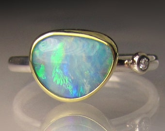 Boulder Opal and Diamond Ring, Australian Opal Ring, Opal Double Stone Ring, Sterling and 18k Gold