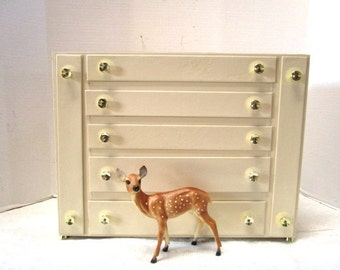 Deluxe Vintage Jewelry Box, Ecru w/ Gold Knobs, Red Velvet & Satin Lining, Provincial Shabby Chic Extra Large 5 Drawers Pull Out Hooks Fancy