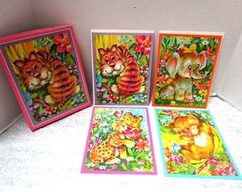 4 Giant Vintage Greeting Cards Safari Set in Original Box, W/ Envelopes, Picture Size Cards, Frameable, Nursery Decor, Elephant Tiger Bear