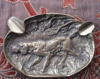 Solid Brass Retriever Hunting Dog Ashtray  Cabin , Man Cave, Hunting Lodge Decor